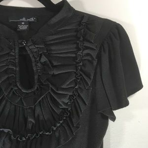 Willi Smith Black Top with ruffle & neck button